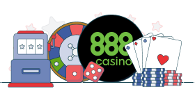 888casino logo between slot machine, casino chips, roulette wheel and cards
