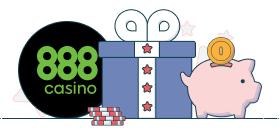 888casino logo next to a gift box representing no deposit bonus