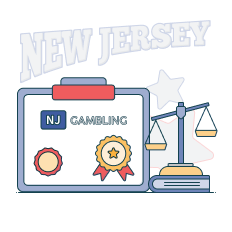 board showing text nj gambling above certificate stamp, next to a balance scale