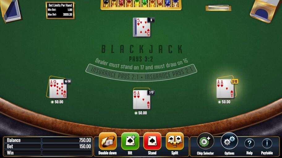 igt multi hand blackjack base game