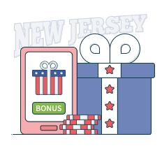gift box next to casino chips and smartphone showing bonus button, in front of a new jersey text