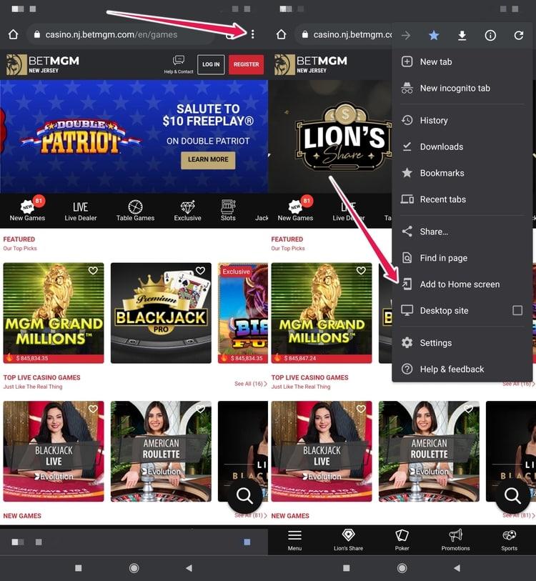 online casino home screen