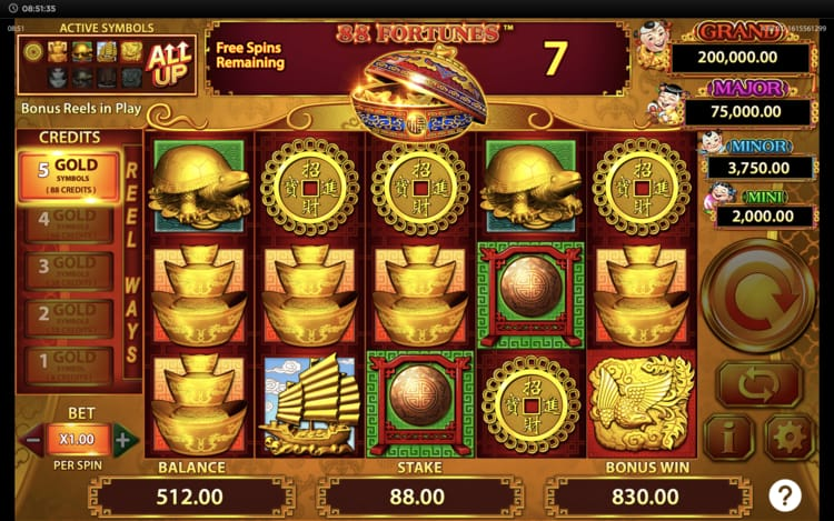 88 fortunes free spins feature