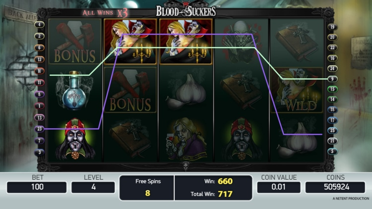 blood suckers slot free spins feature