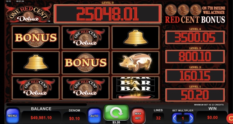 one red cent deluxe slot