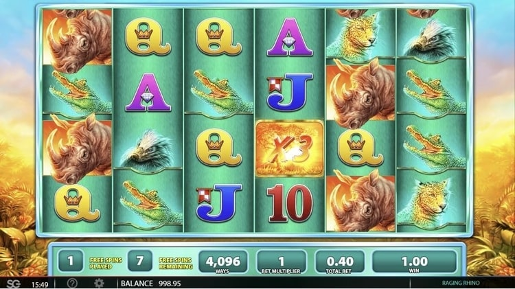raging rhino free spins feature