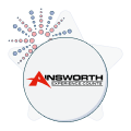 ainsworth logo with fireworks graphic
