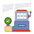 new jersey text with slot machine graphic