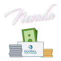 nevada text with global cash access logo and money graphics