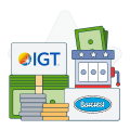 igt and barcrest logos with money symbols