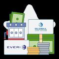 gca and everi logos with money and slot machine graphics