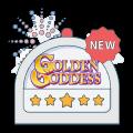 golden goddess slot logo within slot graphic