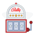 bally logo over slot machine graphic