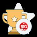 big time gaming logo and trophy symbol