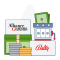 alliance and bally logos with money and slot machine graphics