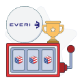 everi logo with slot machine and trophy graphics
