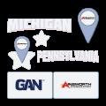 ainsworth and gan logos with michigan and pennsylvania text