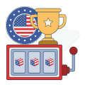 american flag with trophy and slot graphics