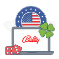 bally logo with american flag and casino symbols