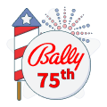 bally 75th anniversary badge with fireworks