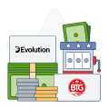big time gaming and evolution logos with money and slot symbols