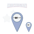 high 5 games location pin with michigan text