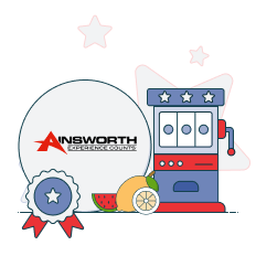 ainsworth logo and slot machine graphic