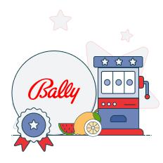 bally logo and slot machine graphic
