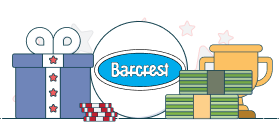 barcrest logo with gift box and money graphics