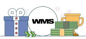 wms logo with casino symbols