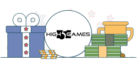 high 5 games logo with gift box and money graphics