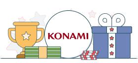 konami logo with trophy and casino symbols