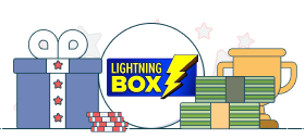 lightning box logo with gift box and money graphics