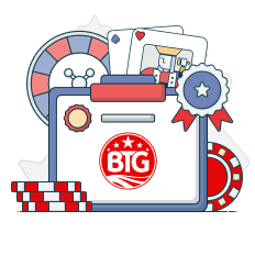 btg logo with casino symbols