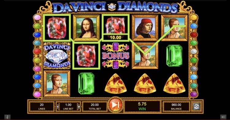 da vinci diamonds slot screenshot