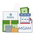 multimedia games and gca logo with money symbols