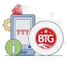 big time gaming logo and info symbols
