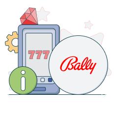 bally logo and info symbol