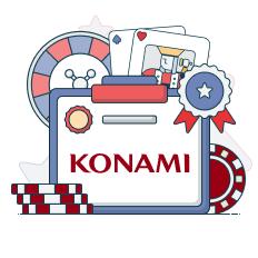 konami logo with casino symbols
