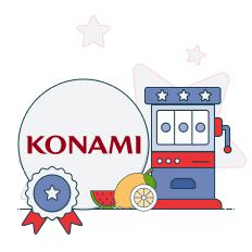 konami logo with slots graphic