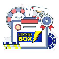 lightning box logo with casino symbols