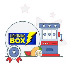 lightning box logo with slots graphic