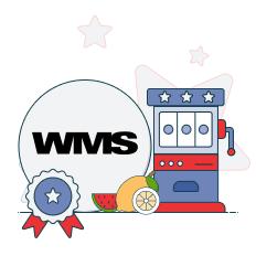 wms logo and slot machine graphic