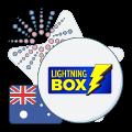 lightning box logo with Australian flag and firework graphic