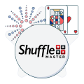 shuffle master logo with firework and card symbols