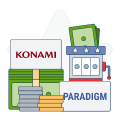 Konami and Paradigm logos with money graphics