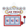vegas welcome sign and slot machine graphic