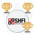 SHFL logo with three trophies