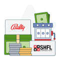 SHFL and Bally logos with money and slot graphics