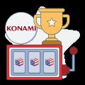 konami logo with slot and trophy graphics